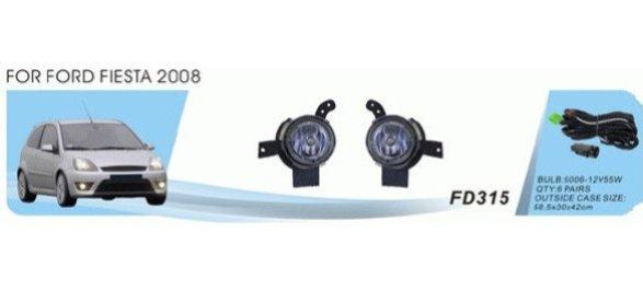 Противотуманные фары Ford Fiesta (2006-08)/КА 2008-/эл.проводка, к-т 2 шт.